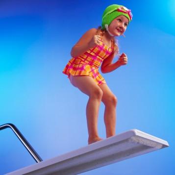 Girl Preparing to Pool Dive