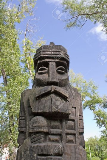 5440059-Landscape-with-a-wooden-pagan-idol-Stock-Photo