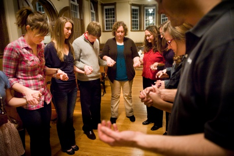 Young people pray in 2012 at Missouri Newman Center