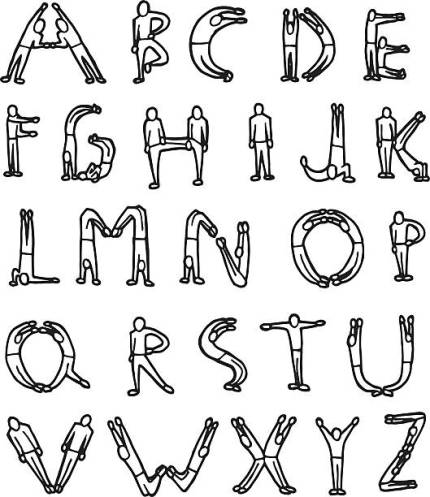 vector set of letter by human